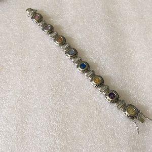 Vintage multi stone sterling bracelet